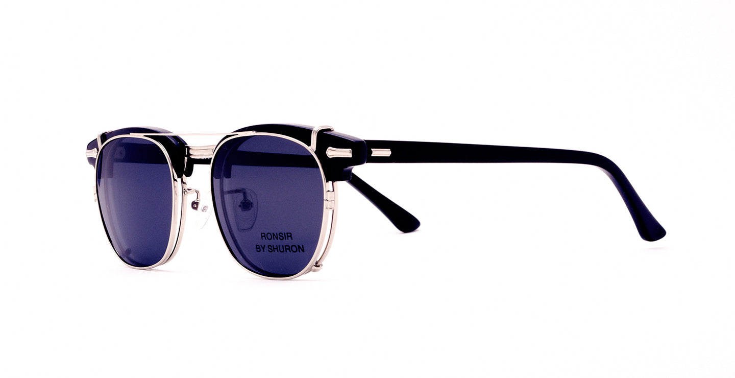 Vintage Rosnir Browline with clip-on shades.