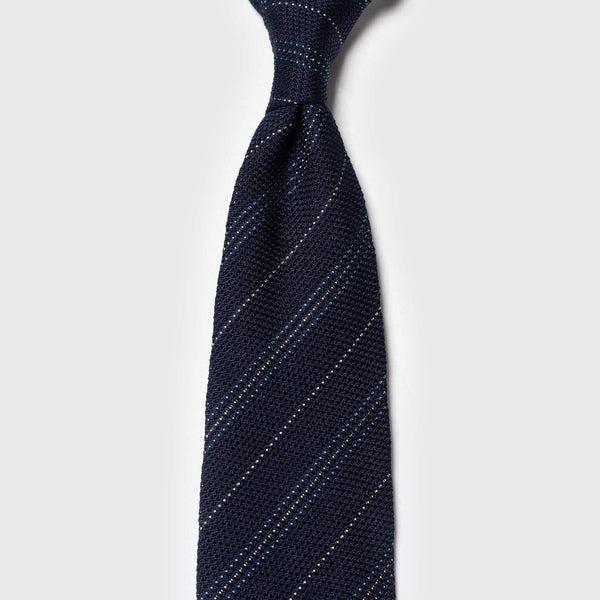 Light Blue & White Striped Blue Grenadine Tie