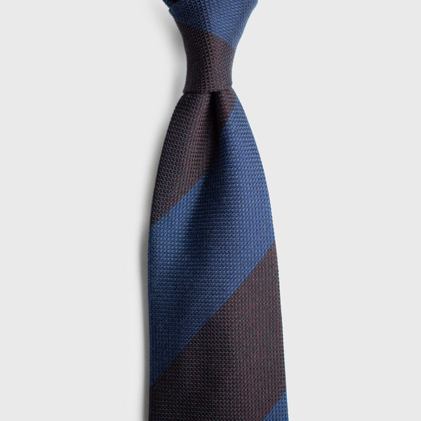 French Blue & Deep Burgundy Block Striped Grenadine Tie Tie AKLASU