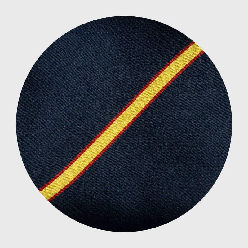 Gold and Red Striped Navy Blue Tie