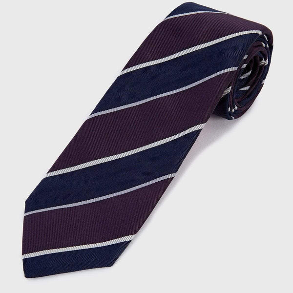 White Striped Blue and Purple Block Six-Fold Tie