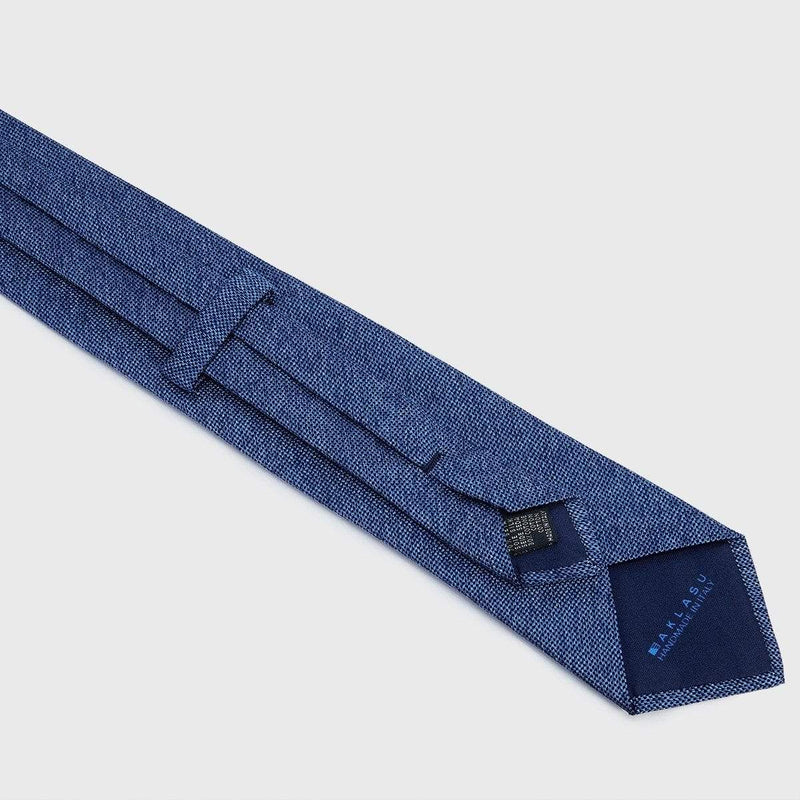 Two-Tone Blue Silk and Cotton Blend Tie