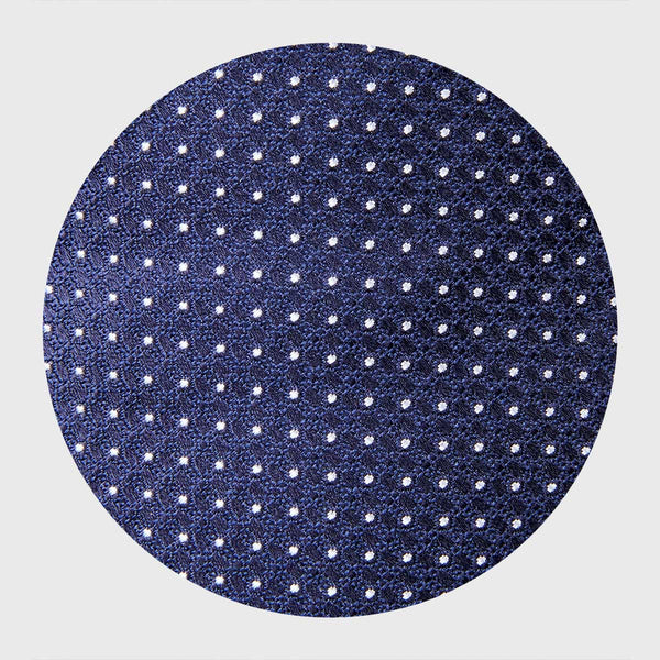 White Dotted Navy Blue Six-Fold Tie