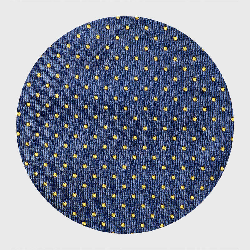 Yellow Dotted Navy Blue Tie