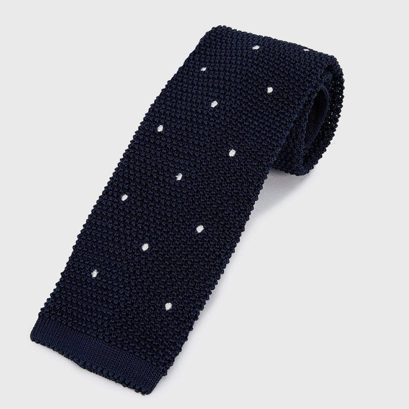 Polka Dotted Navy Blue Knit Tie