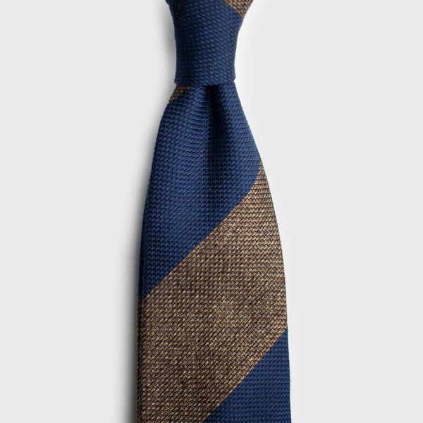 Light Brown & French Blue Block Striped Grenadine Tie Tie AKLASU