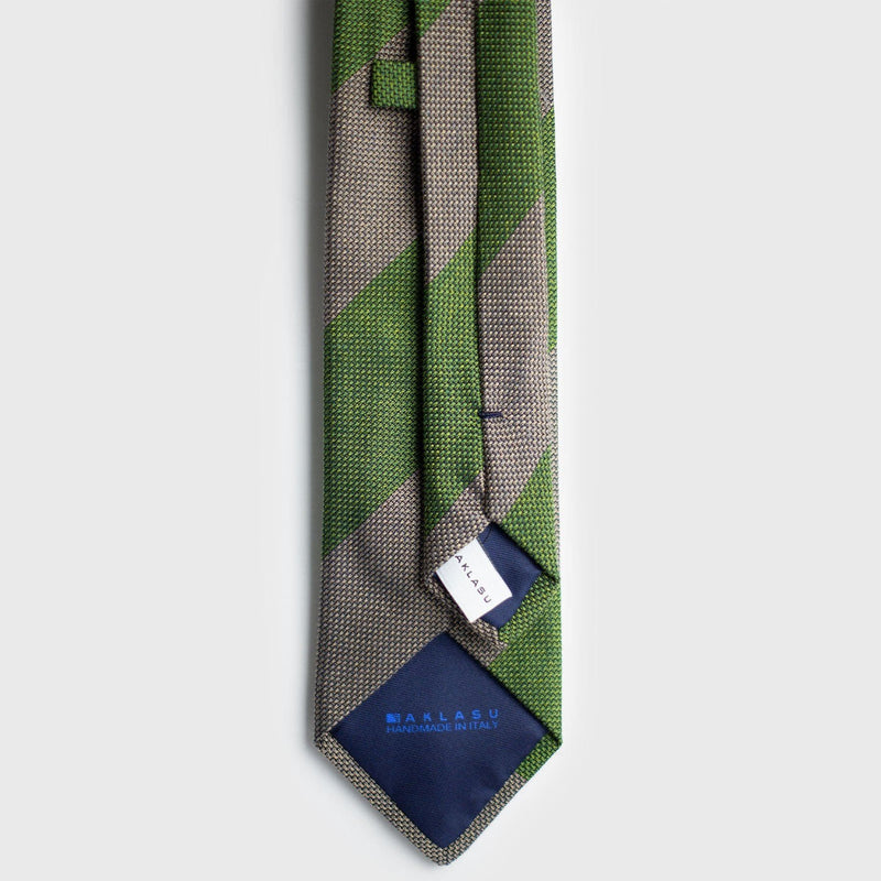 Light Grey & Olive Green Block Striped Grenadine Tie Tie AKLASU