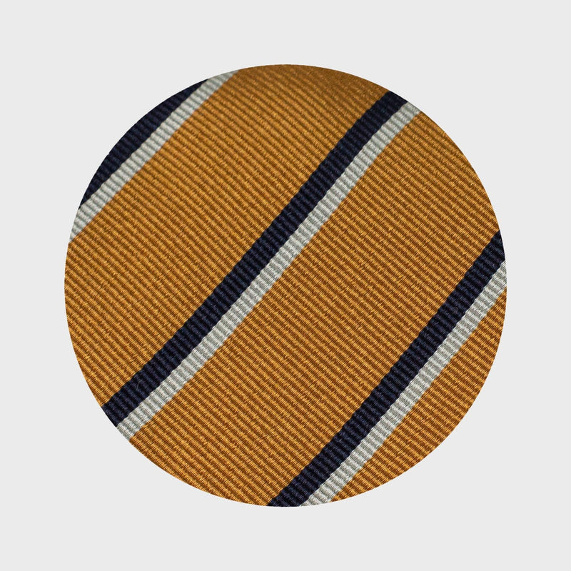 Navy Blue and Grey Striped Mustard Yellow