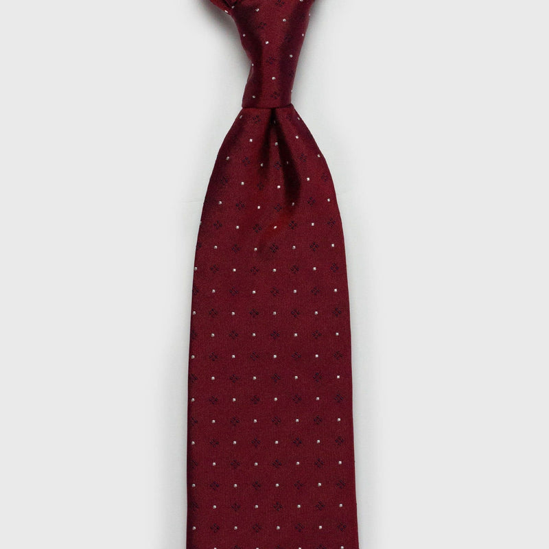 Red Six-Fold Silk Tie with Dotted Blue Diamonds