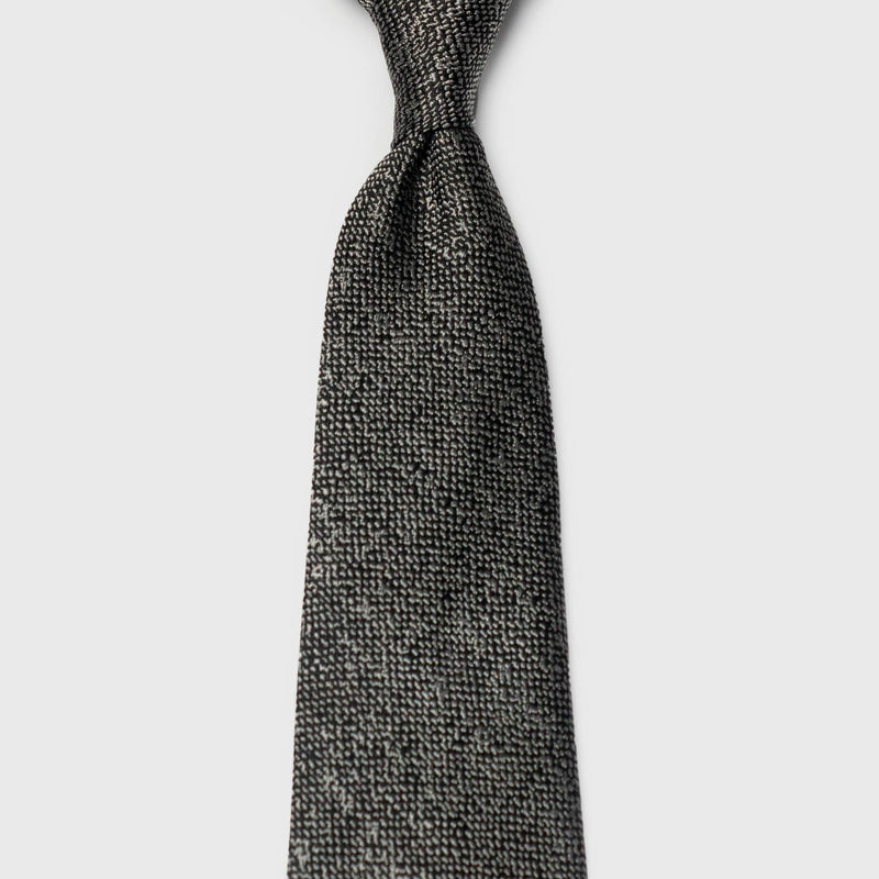 Smooth Silver and Black Speckled Silk & Cotton Blend Tie