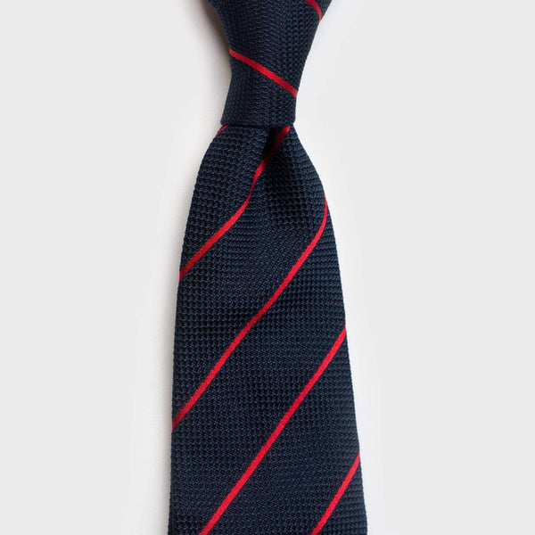 Smooth Red Striped Blue Grenadine Tie