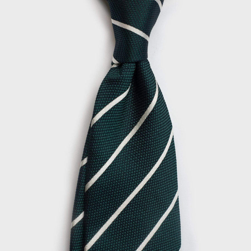 White Striped Metallic Emerald Green Six-Fold Silk Tie