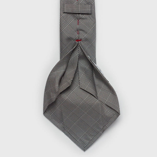 Black & White Glen Plaid/Prince of Wales Six-Fold Silk Tie Tie Aklasu