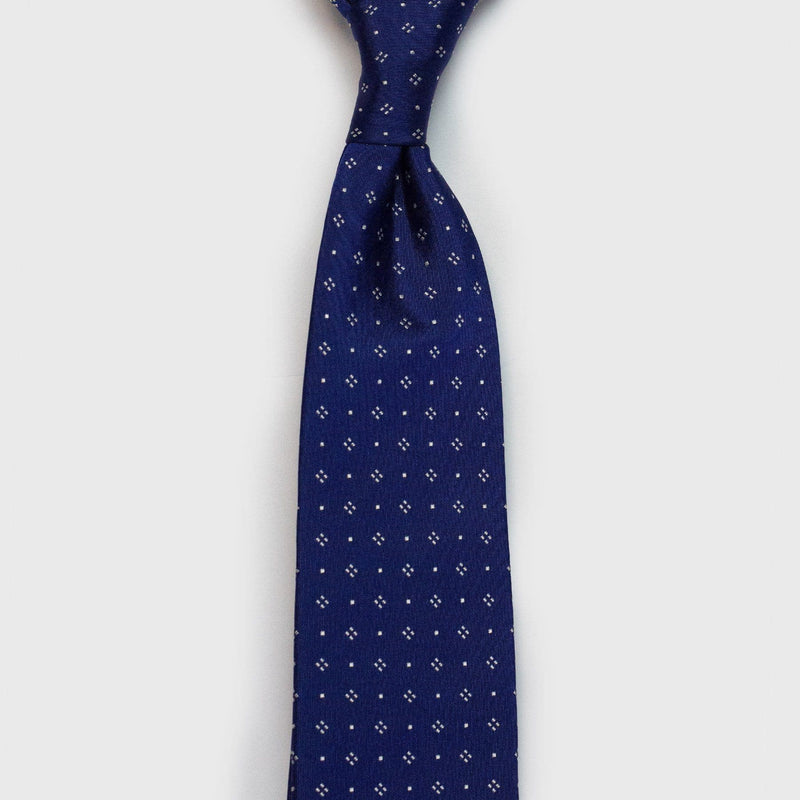 Blue Diamond Dotted Six-Fold Silk Tie - Aklasu