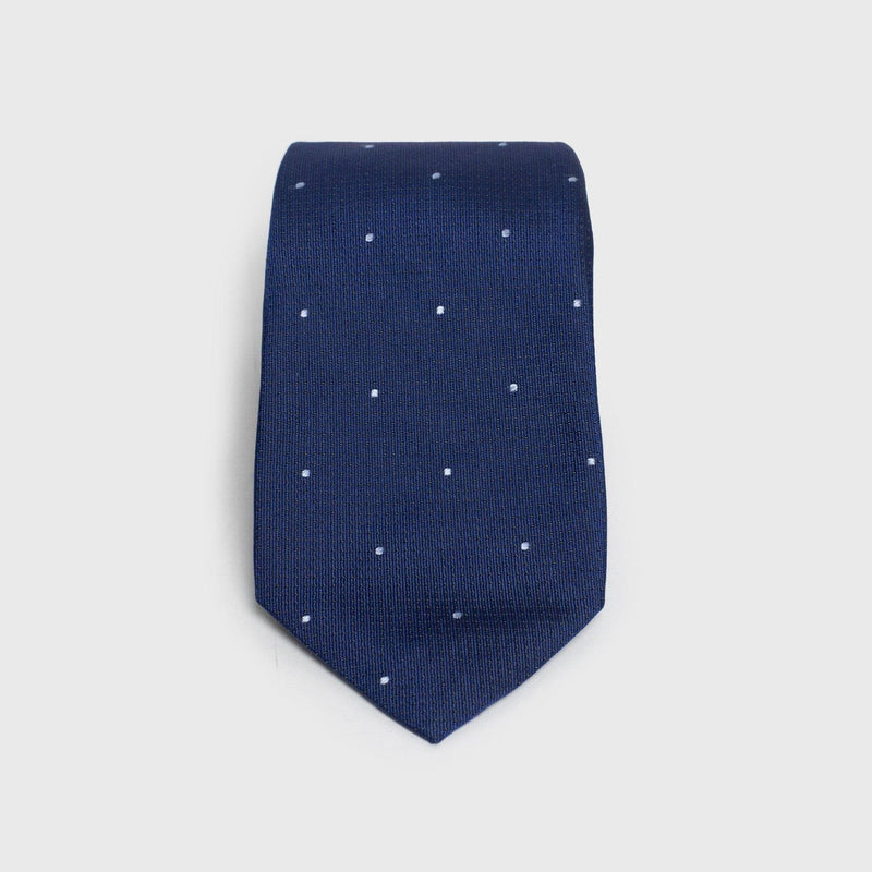 Blue Dotted Silk Six-Fold Tie - Aklasu