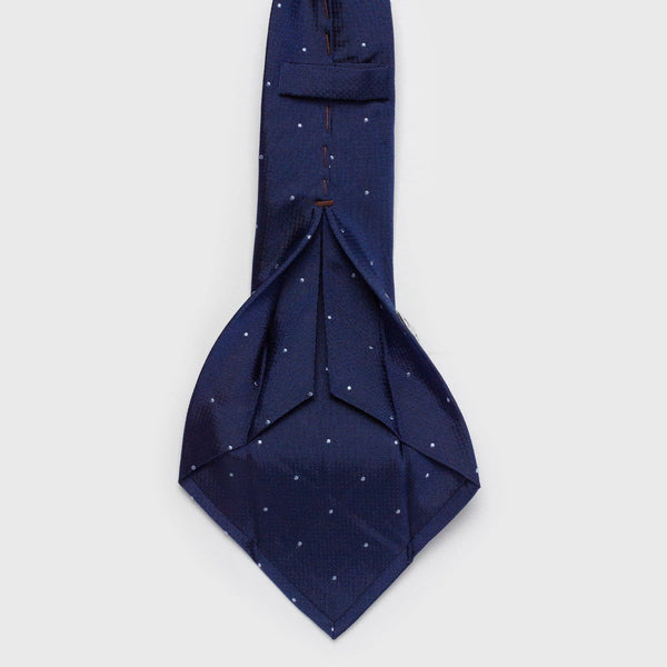 Blue Dotted Silk Six-Fold Tie Tie Aklasu