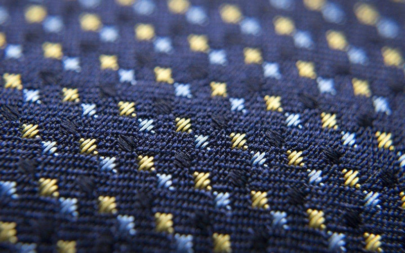 Gold And Blue Check Patterned Six-Fold Silk Tie - Aklasu