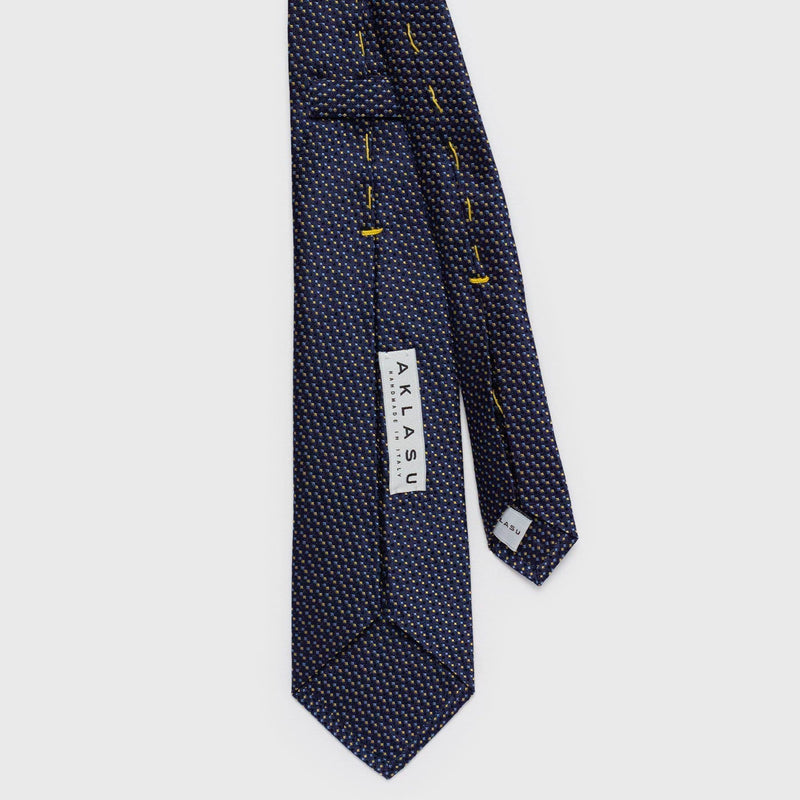 Gold and Blue Check Patterned Six-Fold Silk Tie Tie Aklasu
