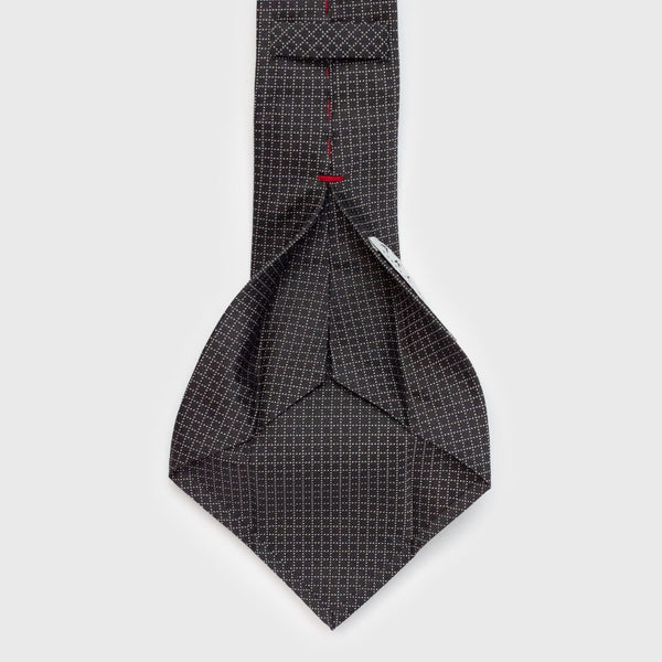 Grey Square Dotted Six-Fold Silk Tie Tie Aklasu