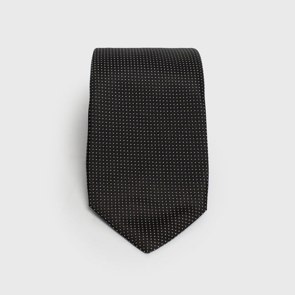 Micro Dotted Grey Six-Fold Silk Tie - Aklasu