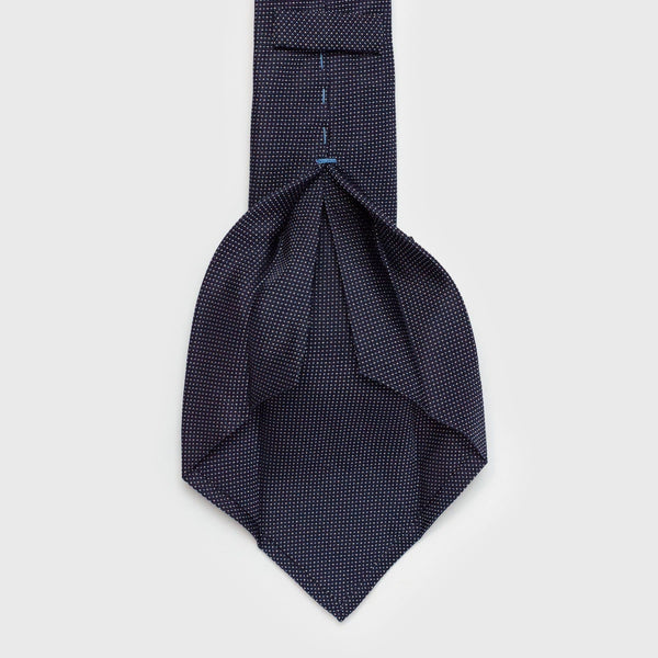 Micro Patterned Navy Blue Six-Fold Silk Tie - Aklasu