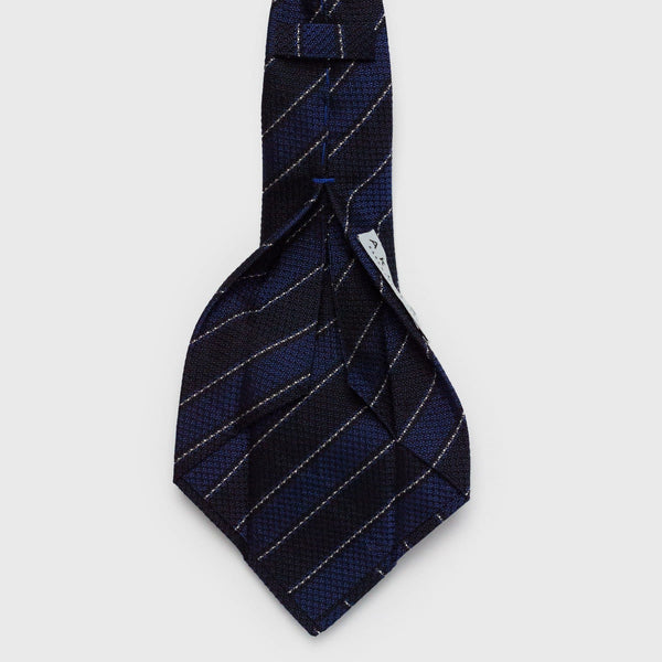 Multi Blue & White Striped Six-Fold Silk Tie - Aklasu