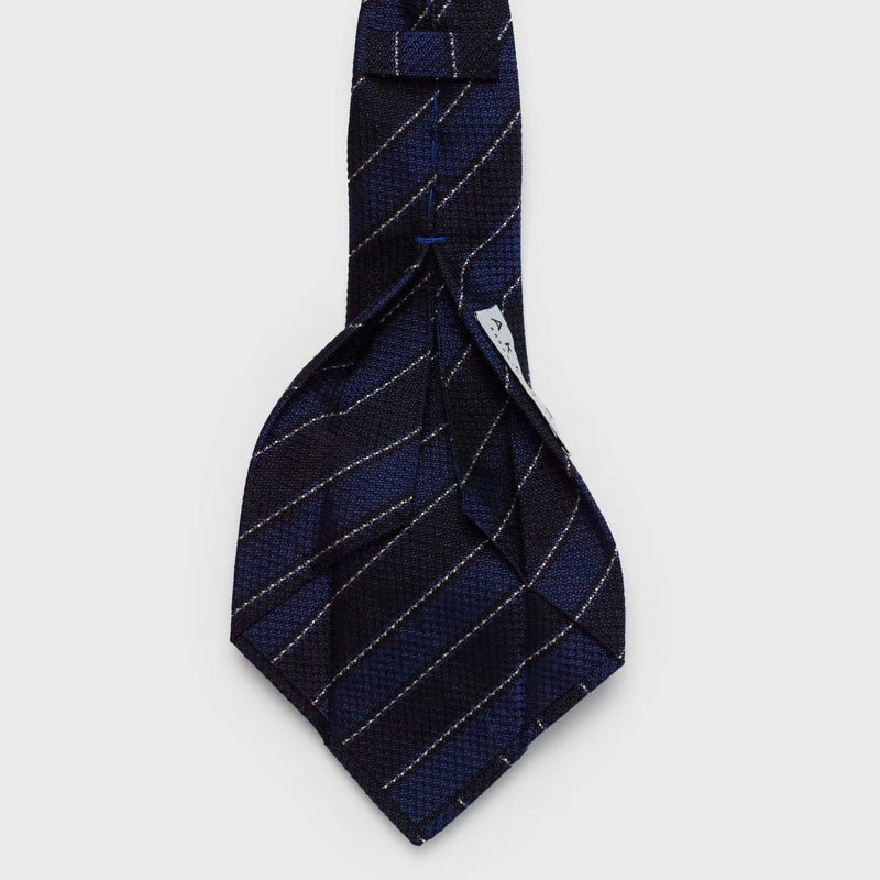 Multi Blue & White Striped Six-Fold Silk Tie Tie Aklasu