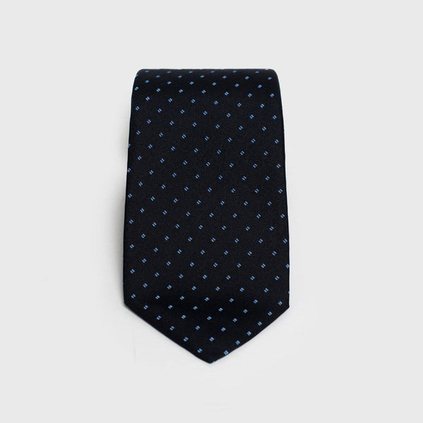 Patterned Deep Blue Six-Fold Silk Tie - Aklasu