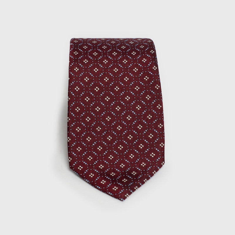 Red And White Patterned Six-Fold Silk Tie - Aklasu