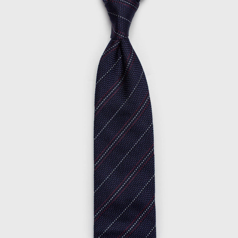 Red & White Striped Blue Grenadine Tie - Aklasu