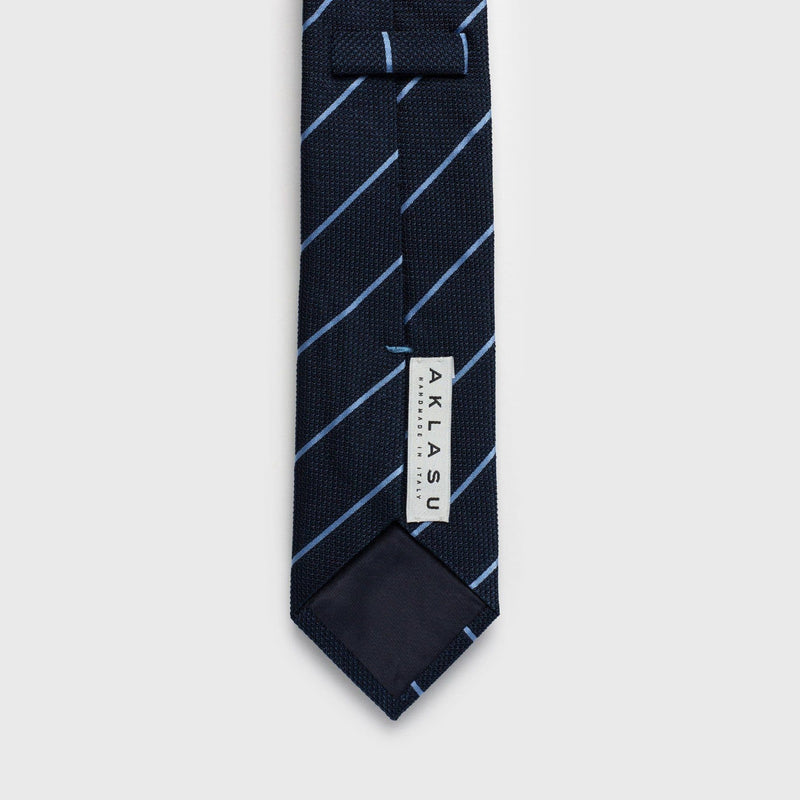 Smooth Light Blue Striped Blue Grenadine Tie Tie AKLASU