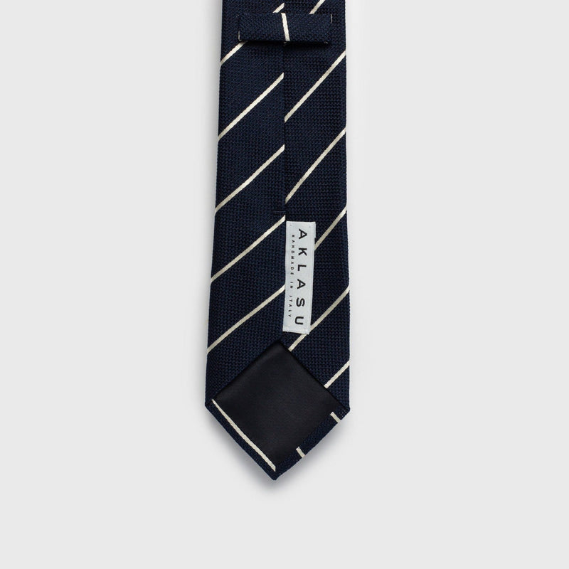 Smooth White Striped Blue Grenadine Tie - Aklasu