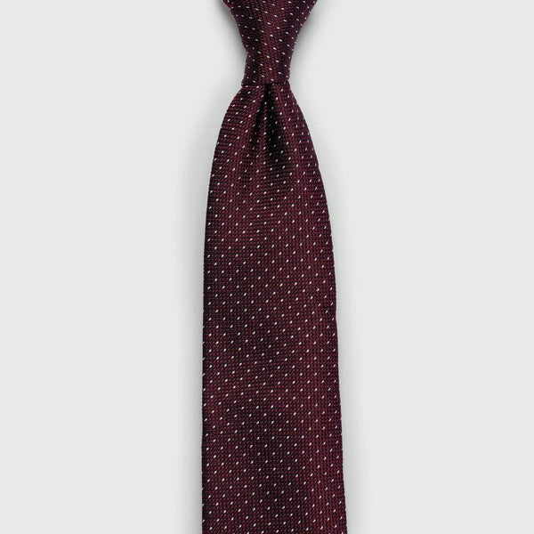 White Dashed Burgundy Grenadine Tie - Aklasu
