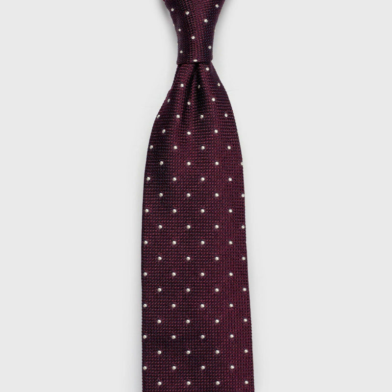 White Dotted Burgundy Grenadine Silk Tie Tie Aklasu