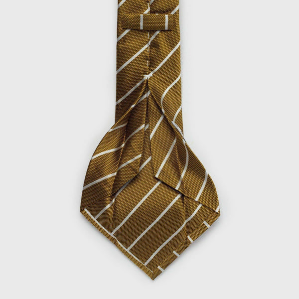 White Striped Metallic Gold Six-Fold Silk Tie Tie Aklasu