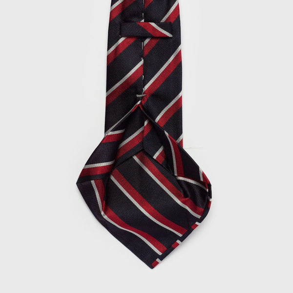 Wide Blue White And Red Striped Six-Fold Silk Tie - Aklasu