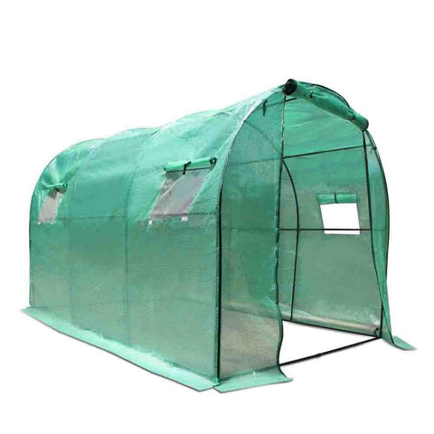 Greenhouse with Green PE Cover