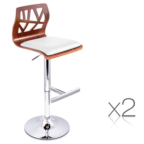 2 x Wooden Bar stool PU padded Seat