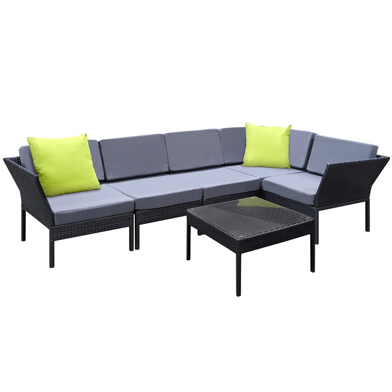 Stackable 6 pcs Wicker Rattan 5 Seater Outdoor Lounge Set