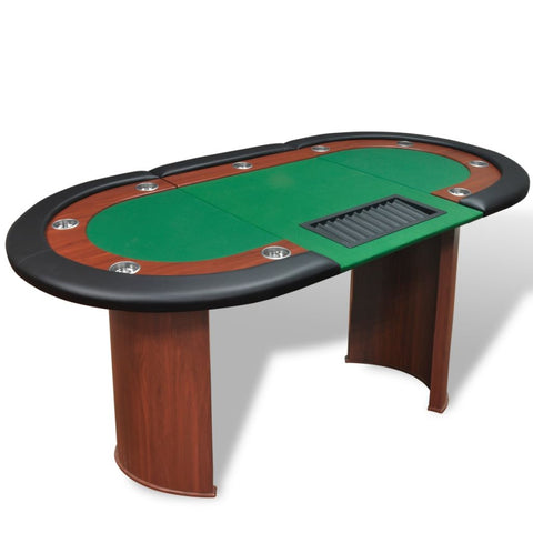 10-Player Poker Table With Dealer Area And Chip Tray - Green