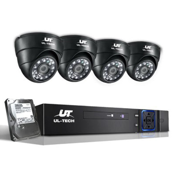 1080P Eight Channel CCTV Security Camera 1 TB (4 Pcs) - Black