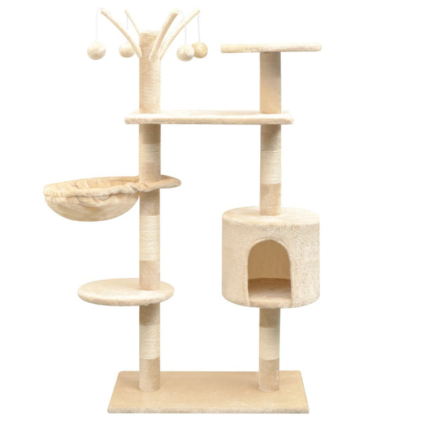 125 Cm Cat Tree With Sisal Scratching Posts - Beige