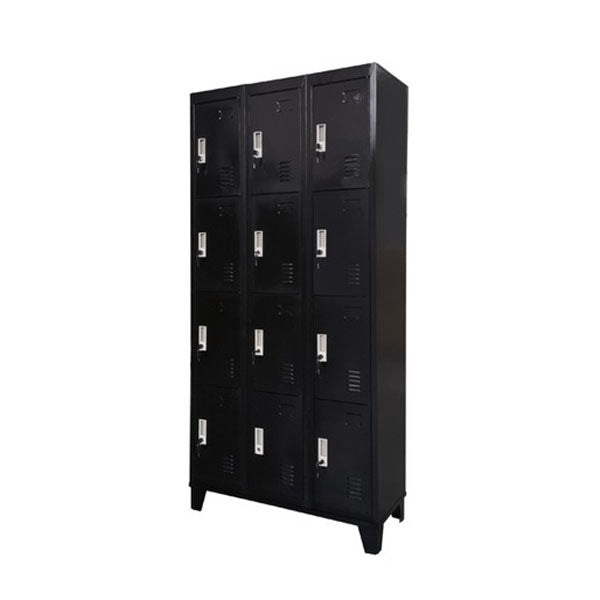 12 Door Black Locker