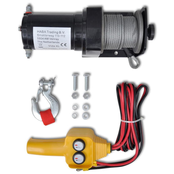 12 V Electric Winch 907 Kg Wire Remote Control