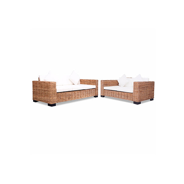 15 Piece Sofa Set Natural Rattan