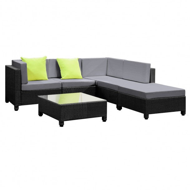 Black Wicker 5-Seater Lounge Set