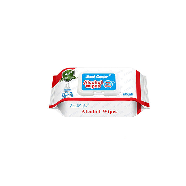1 Pack 60 Pieces Wipes Alcohol Hand Surface Use
