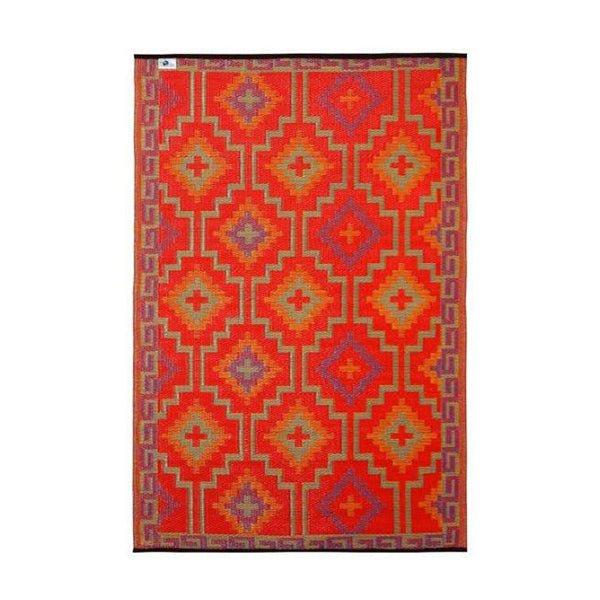 Lhasa Orange And Violet Recycled Plastic Outdoor Rug And Mat