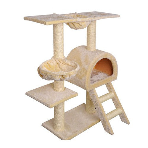 Cat Tree 100Cm Trees Scratching Post Tower Condo House Furniture Wood