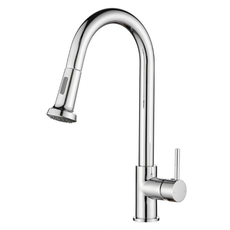 Euro Round Chrome Kitchen Sink Pull Out Mixer Faucet